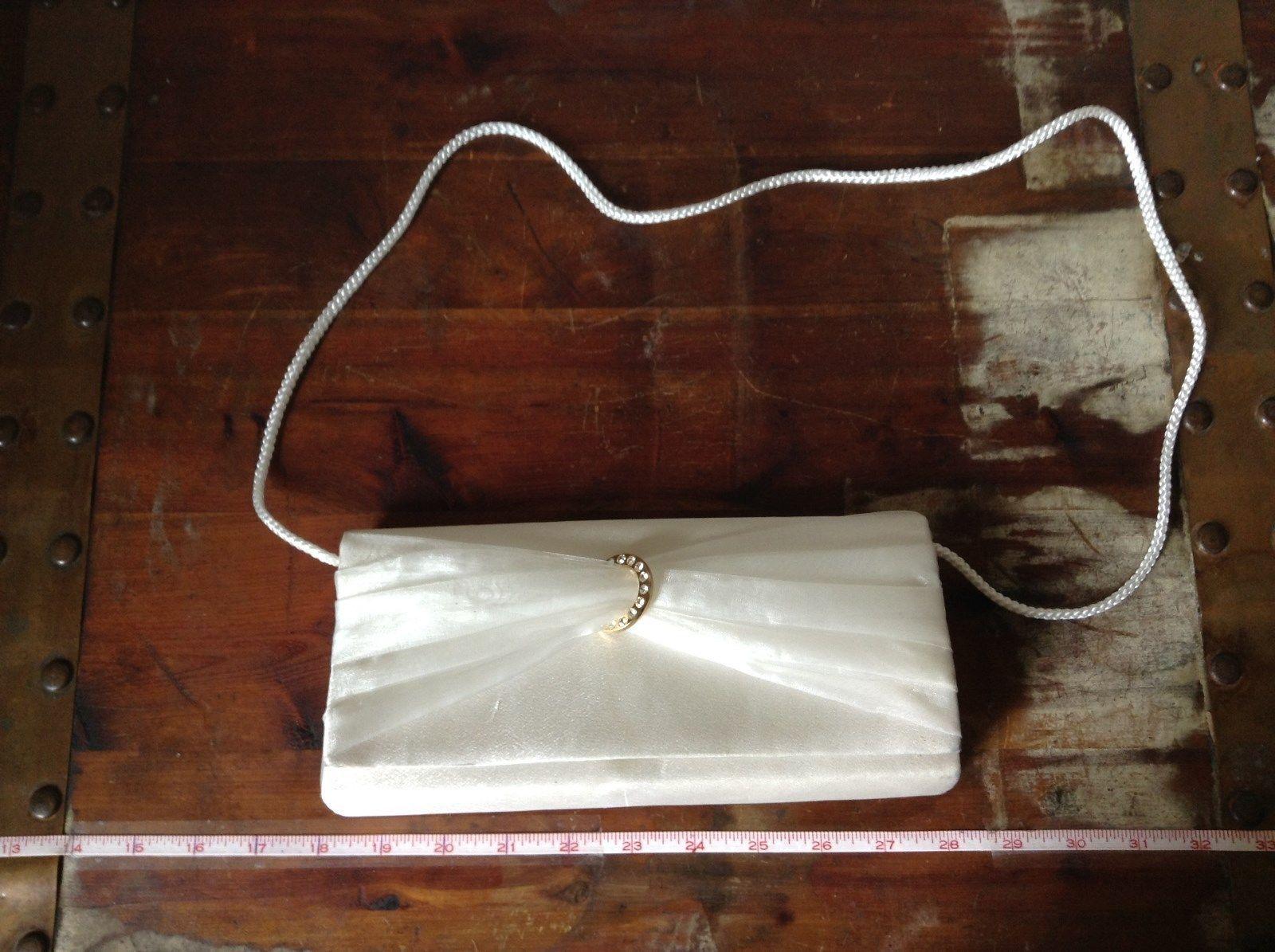 Gunne Sax White Bridal Handbag Purse 100 Percent Satin Bauan Front