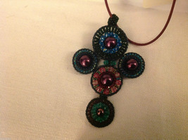 Guatemala women's hand beaded necklace cross crucifix  Mayan image 1