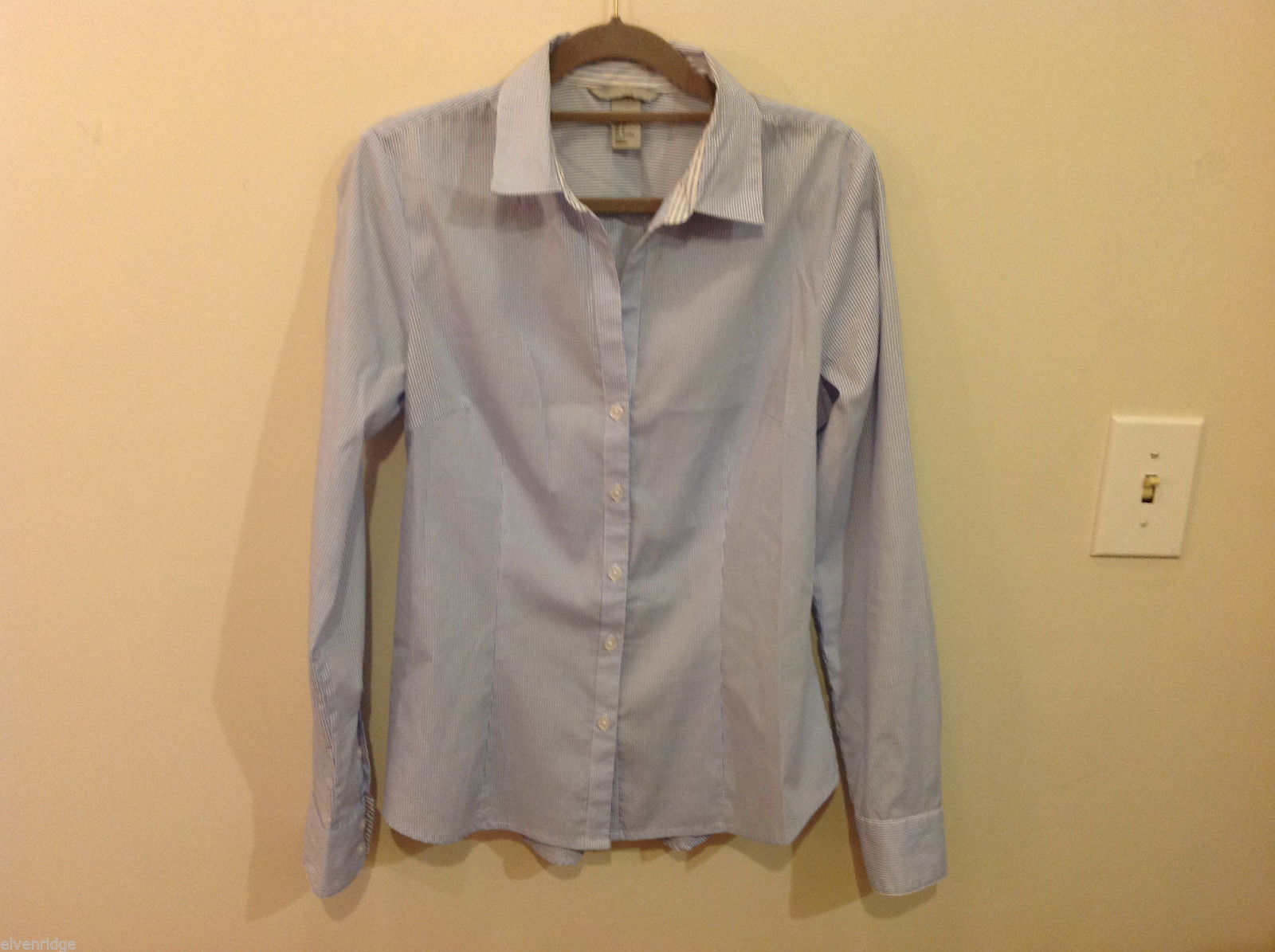 H&M Light Blue White Stripe Pattern long sleeve Blouse Shirt, size 8