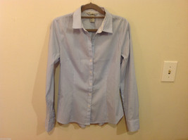 H&M Light Blue White Stripe Pattern long sleeve Blouse Shirt, size 8 image 1