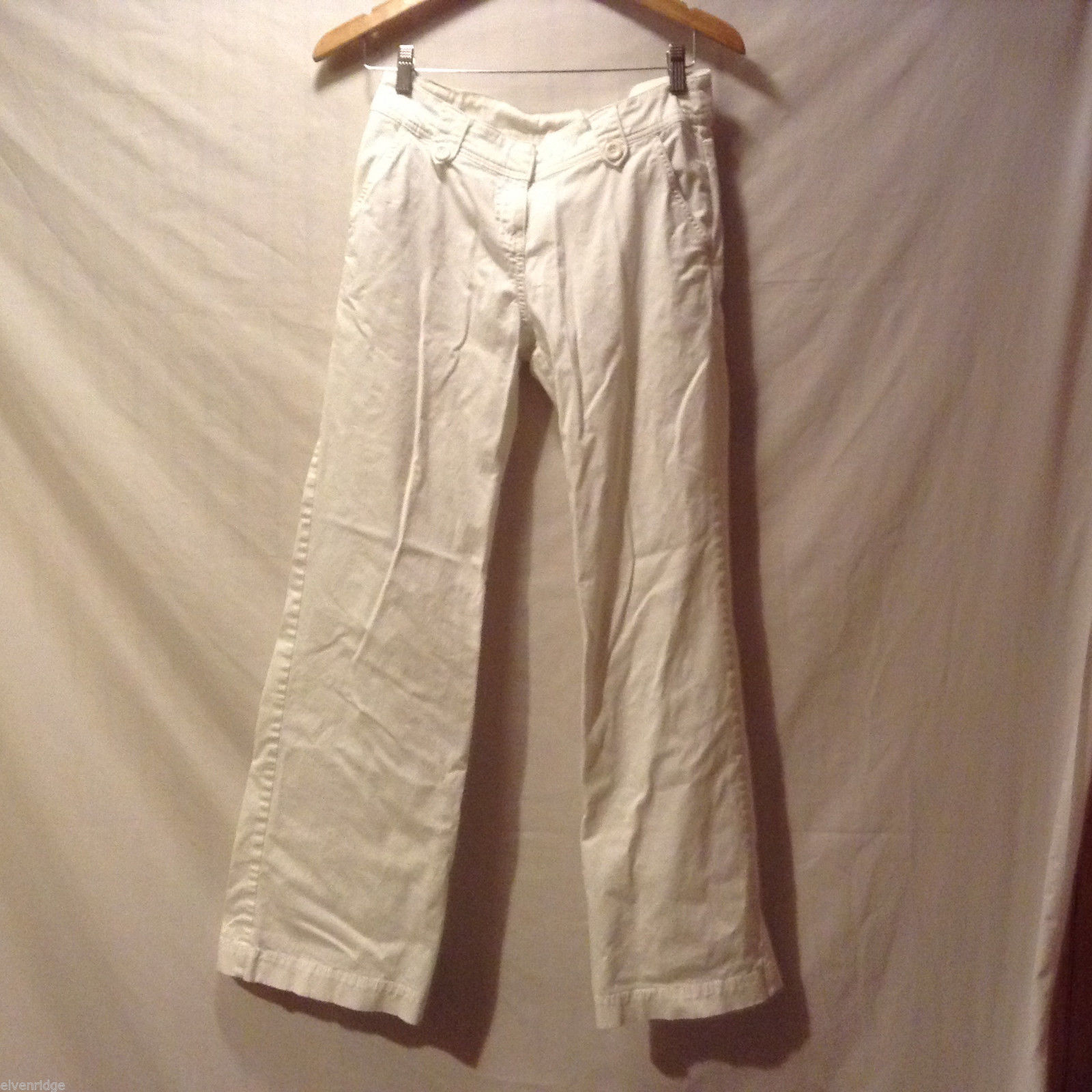 H&M Womens White Stretchy Cotton Casual Pants front and back pockets, Size 8
