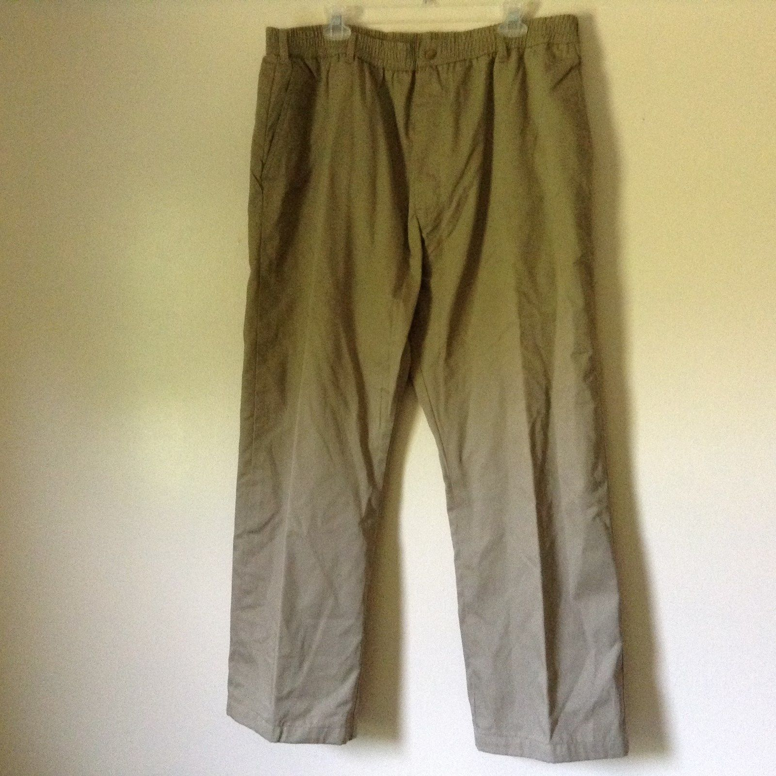 Habands Ice House Flannels Light Brown Tan Pants Size 42M Elastic Waistband