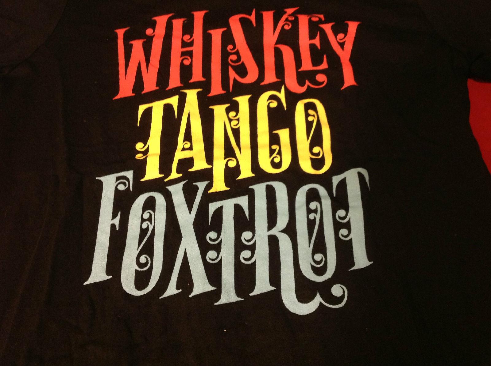 Guys Black Whiskey Tango Fox Trot Graphic T-Shirt Size Medium WTF Threadless