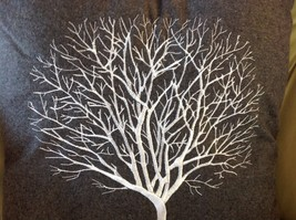 Gray Holiday Decorative Embroidered pillow with winter tree silhouette 16 inch image 3