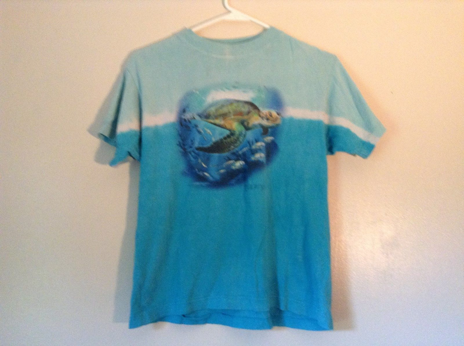 Kid U Not Size Large 14 to 16 Blue with Turtle and Fish Ocean 100 Percent Cotton