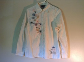 Koret Long Sleeve Button Up Collared Shirt with Flowers Size Medium