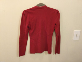 International Concepts Red Long Sleeves V-neck Blouse, bunched shoulders, Size S image 3