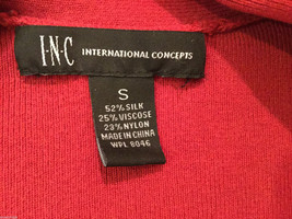 International Concepts Red Long Sleeves V-neck Blouse, bunched shoulders, Size S image 5