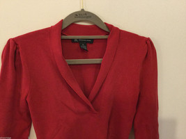 International Concepts Red Long Sleeves V-neck Blouse, bunched shoulders, Size S image 2