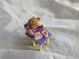 Hallmark My Fourth Christmas Ornament Childs Age Collection Cat at Desk Painting