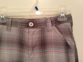 Gray Plaid Shorts by Games Size 12 Side and Back Pockets Button Zipper Closure image 2