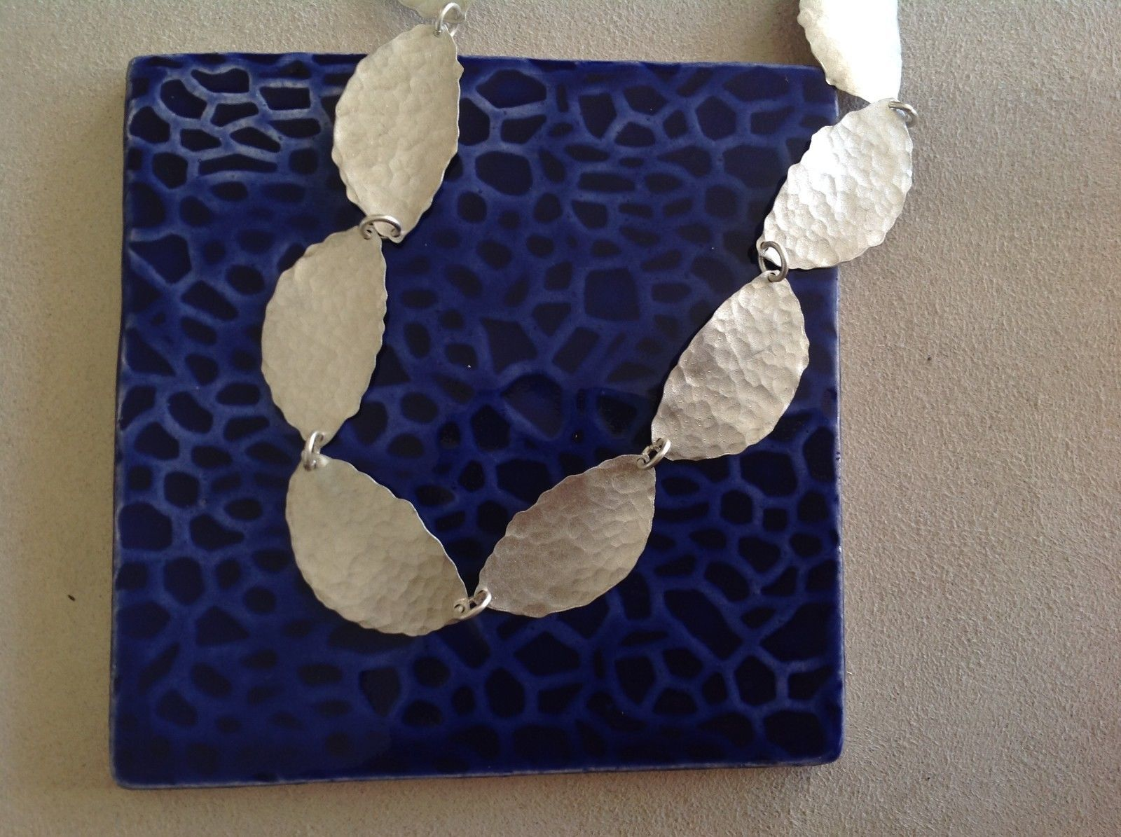 Hammered Silver light weight Zina Kao Leaf Necklace Hand made in California