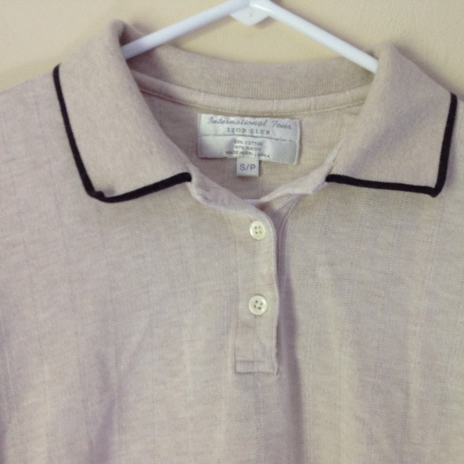 International Tour IZOD Club Beige with Black Accents Polo Shirt Size Small