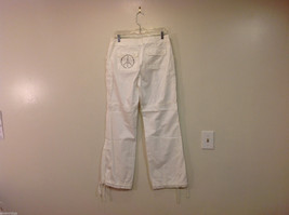 International Concepts White Casual Pants with Pockets and PEACE sign, Size 6 image 2