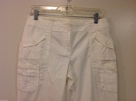 International Concepts White Casual Pants with Pockets and PEACE sign, Size 6 image 3