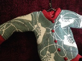 Gray Poseable Ugly Sweater Ornament White Skates Red Trim and Small Red Buttons image 2
