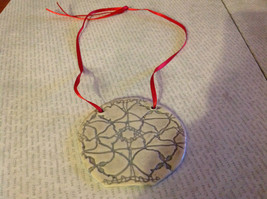 Gray Round Graphic Handmade Flat Ceramic Ornament or Wall Decoration Red Ribbon image 2