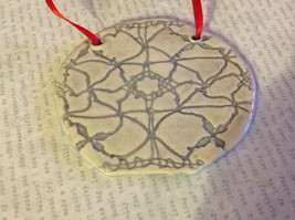 Gray Round Graphic Handmade Flat Ceramic Ornament or Wall Decoration Red Ribbon image 3