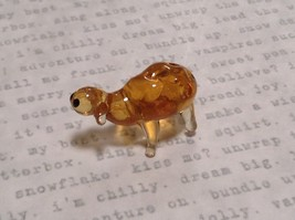 Hand Blown Glass Mini Figurine Amber Colored Sheep Made in USA - $39.99