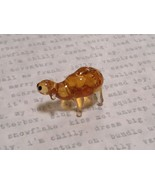 Hand Blown Glass Mini Figurine Amber Colored Sheep Made in USA - $19.79