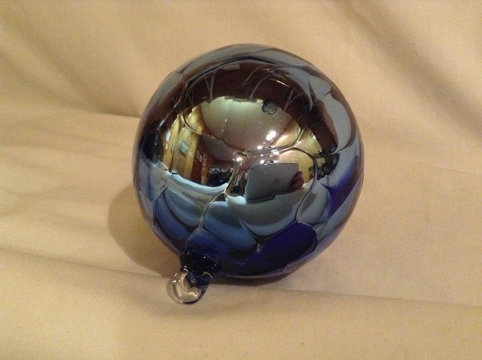 Hand Blown Glass Blue Ornament USA Made Shiny Metallic Christmas Orb