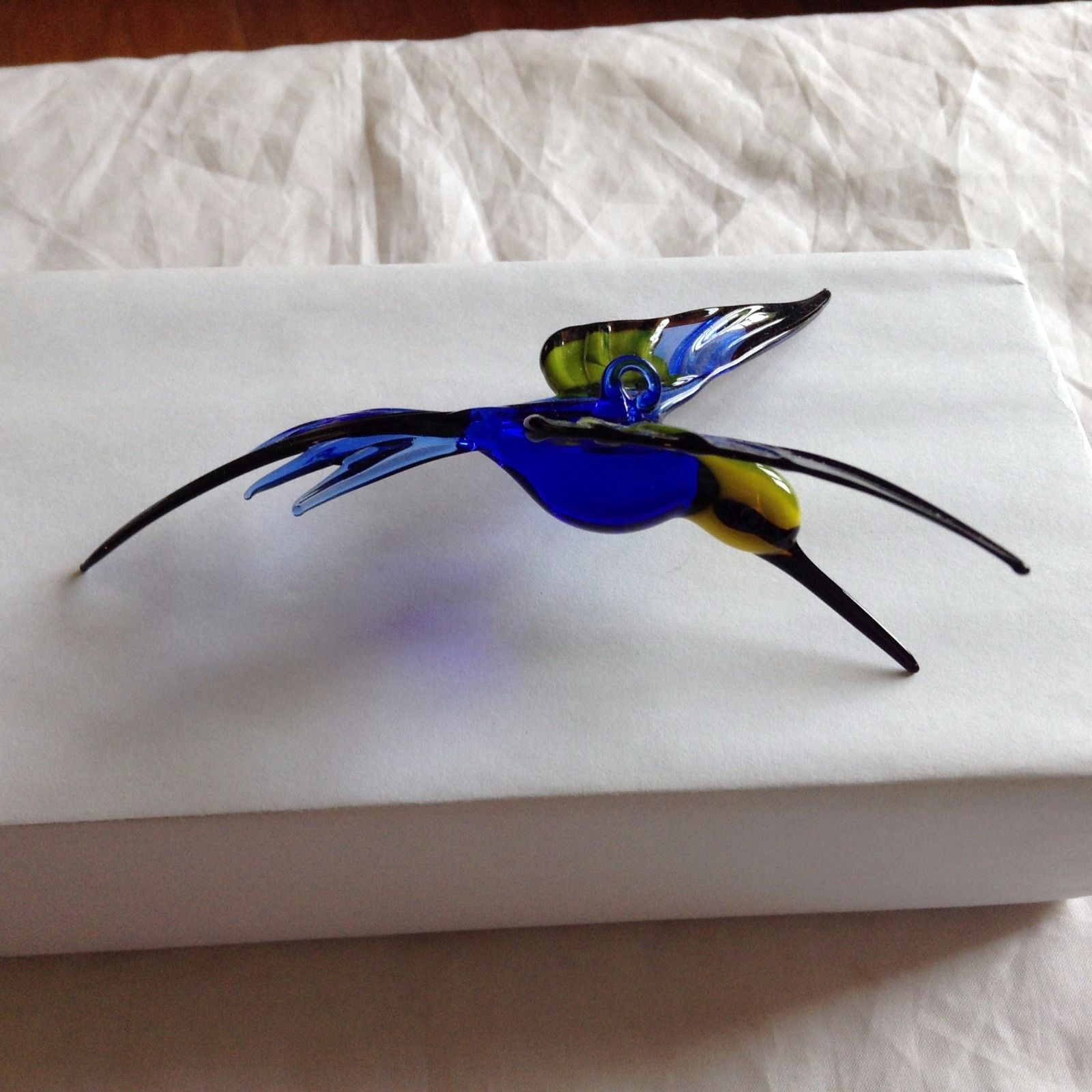 Hand Blown Hummingbird Bee eater Window Ornament w cobalt blue  #1