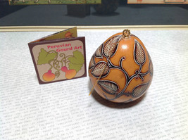 Hand Carved Art Ornament Peruvian Gourd with Leaves Eco Sustainable Fair Trade