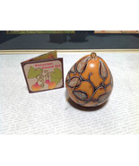 Hand Carved Art Ornament Peruvian Gourd with Leaves Eco Sustainable Fair... - $39.99