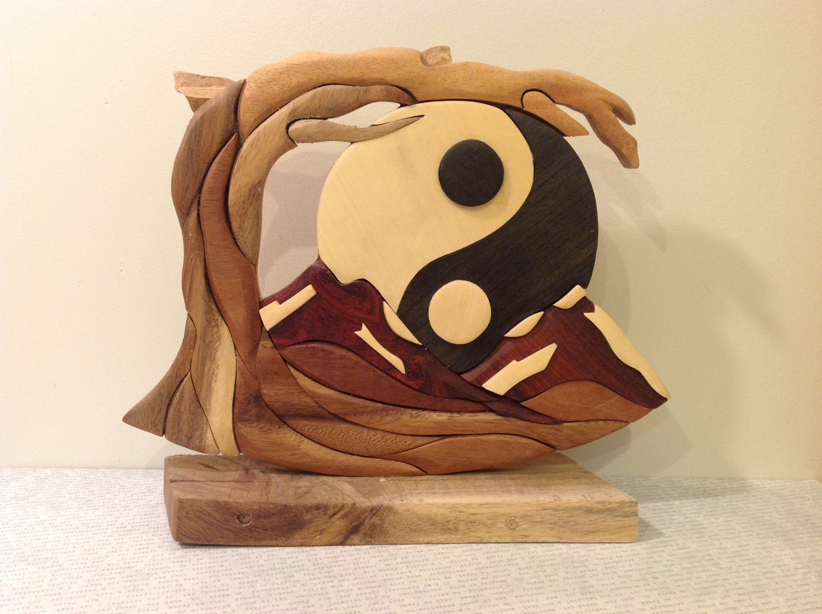 Hand Carved Grained Wood Ying  Yang Ornament Sign Brown