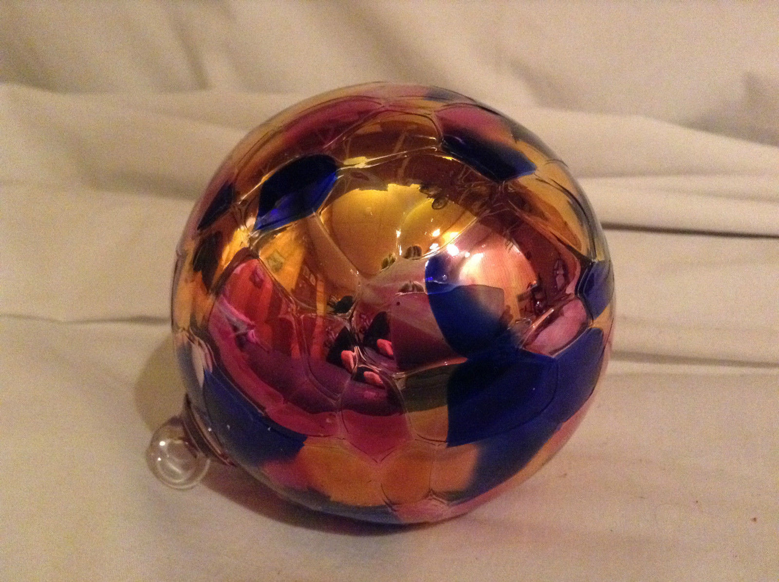 Hand Blown Glass Orange Pink Blue Heirloom Ornament Shiny Metallic Made in USA