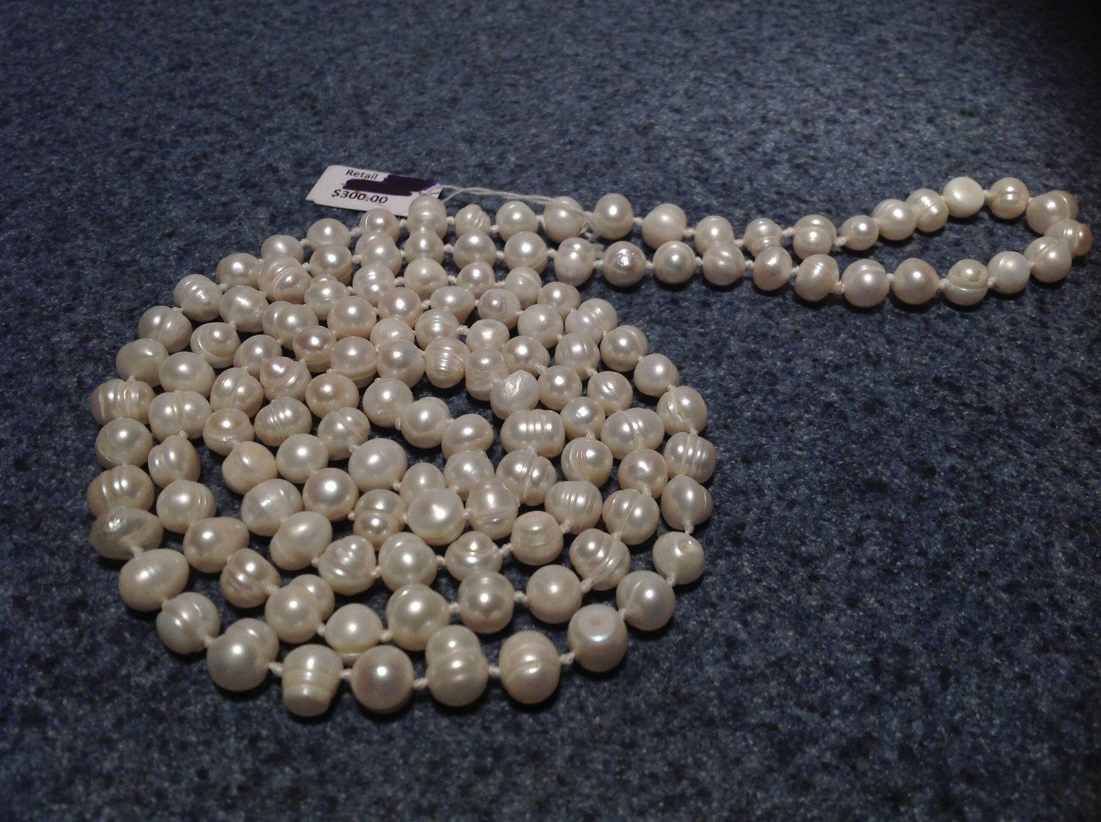 Hand Knotted Genuine Fresh Water Pearl Bead Necklace 46 Inches Long