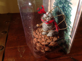 Gray Poodle with Scarf Real Pine Cone Pet Pine Cone Christmas Ornament image 2