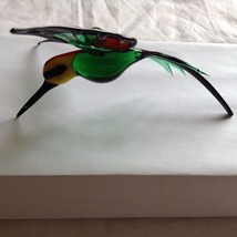 Hand Blown Hummingbird Bee eater Window Ornament  #5 in green red yellow image 1