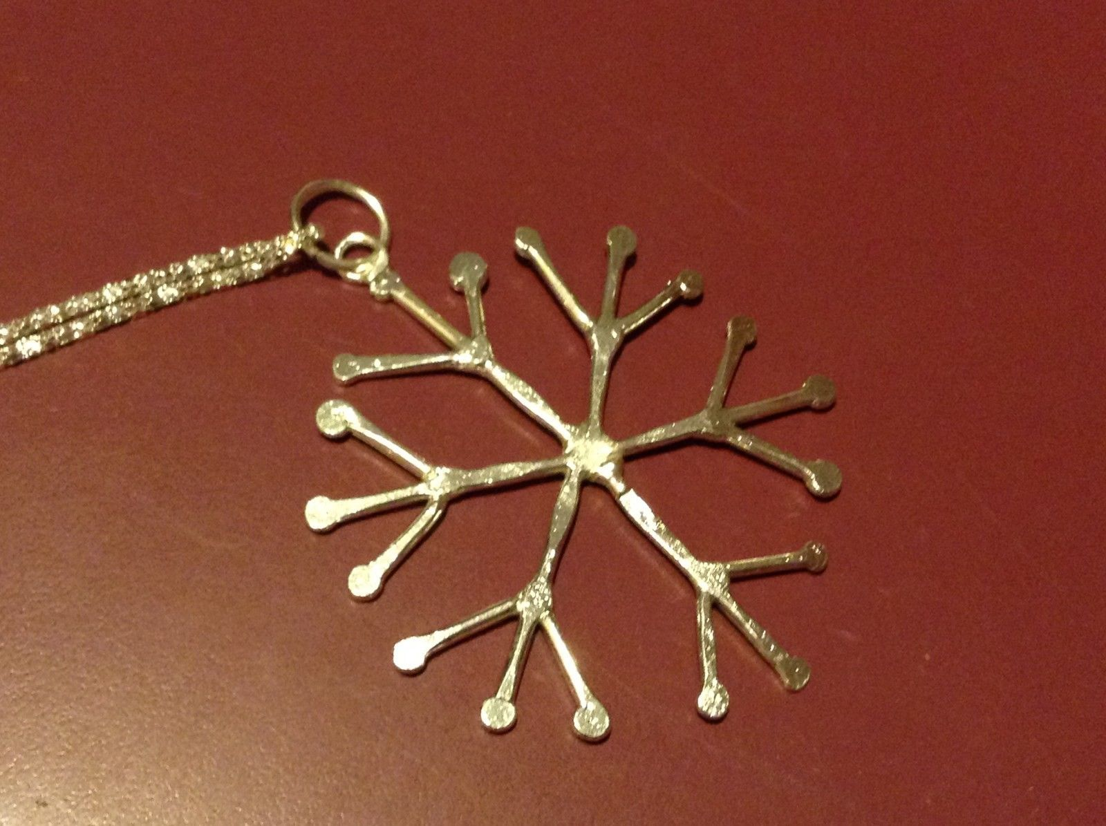 Hand Made Snowflake Silver plated finish Pewter Holiday Necklace 20 inch chain