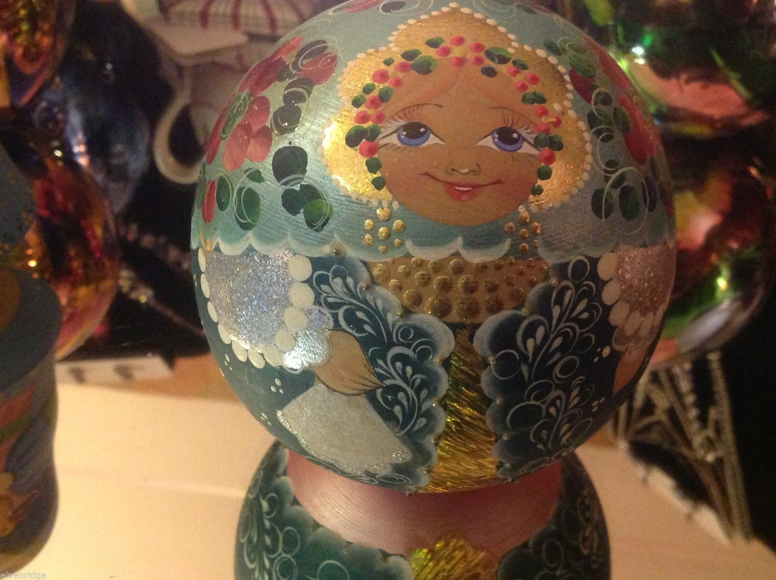 Hand Made and painted Russian Roly Poly round w gold and silver sparkles