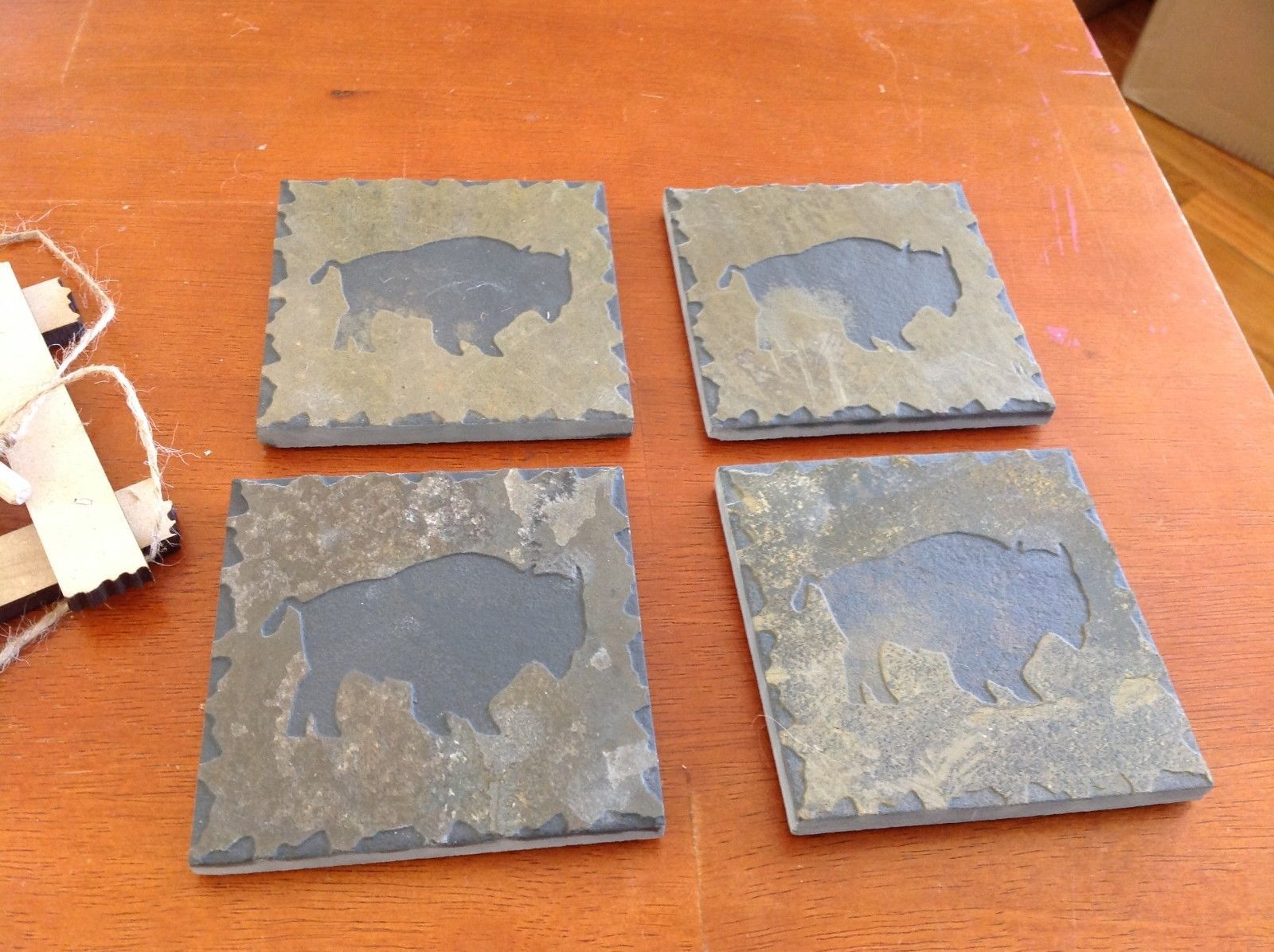 "Hand Made USA slate tile 4"" square coaster square gift set engraved buffalo"