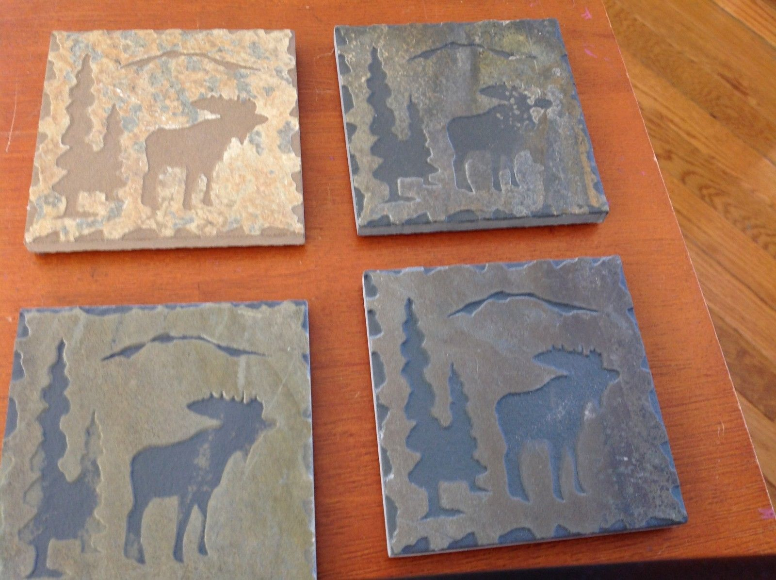 "Hand Made USA slate tile 4"" square coaster square gift set moose in pine trees"