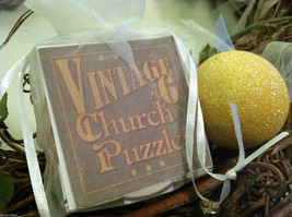 6 Sided Cube Vintage Church Puzzle - Spring chick bunny lamb Themed image 2