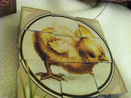 6 Sided Cube Vintage Church Puzzle - Spring chick bunny lamb Themed image 3