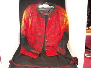 Ladies Emanuel 200 Roma 2 Piece Italian Angora Suit red