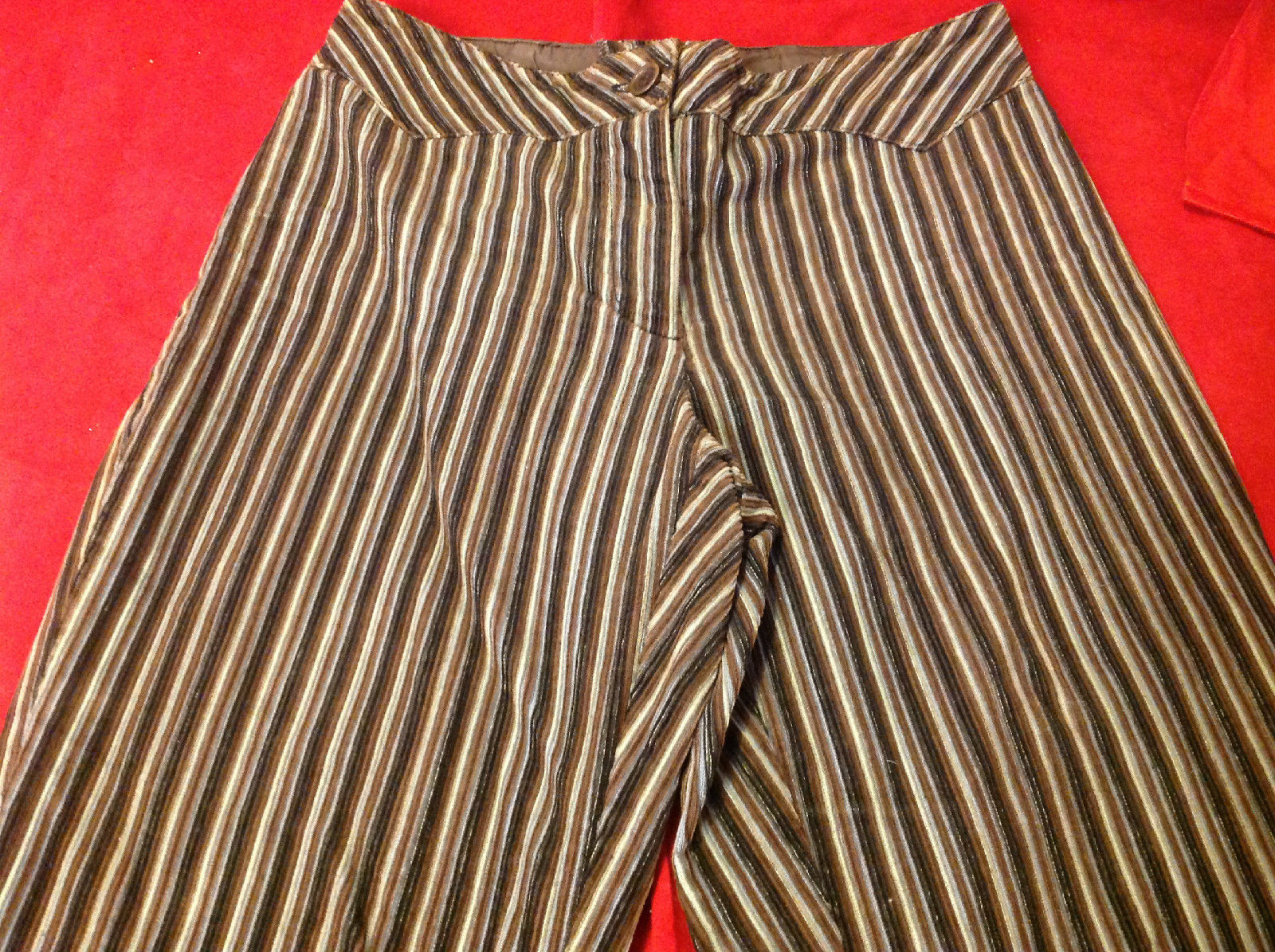 Ladies Home Made Long Pants Black Brown Light Blue Stripes 15 Inch W 29 Inch L