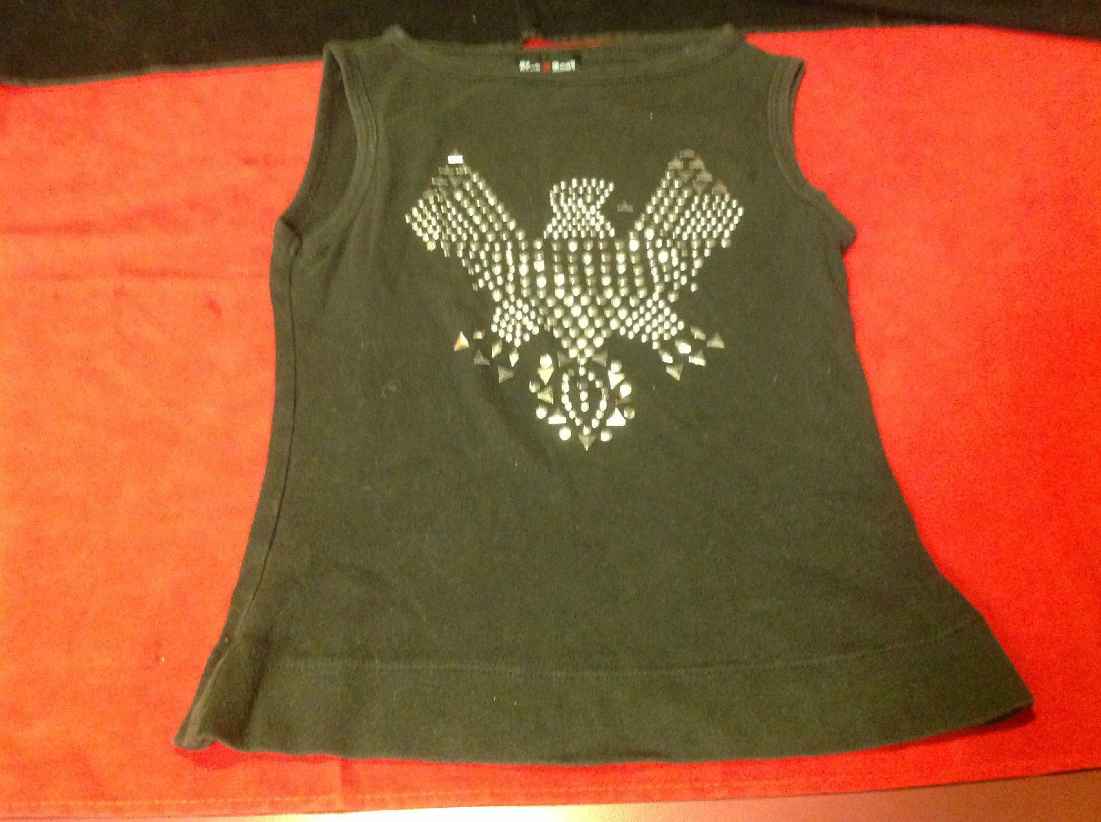 Ladies Hot Spot Black Sleeveless Top Silver Bird on Front 19 Inch L 13 Inch W