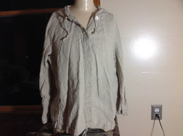 Lands End Khaki Long sleeve Hooded Button Up Jacket Front Pockets Size 16