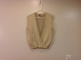 Lands' End Light Beige with Light Brown Dots 100% Cotton V-neck Vest, Size M image 1