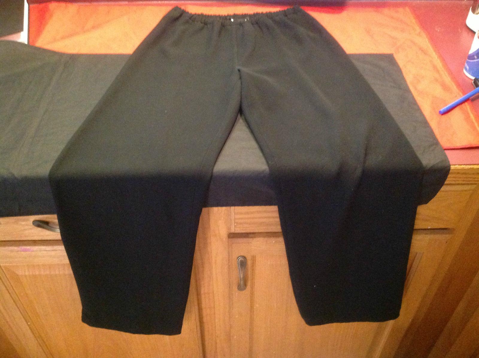 Ladies Black Casual Platinum Long Pants Stretch Waist Size 0