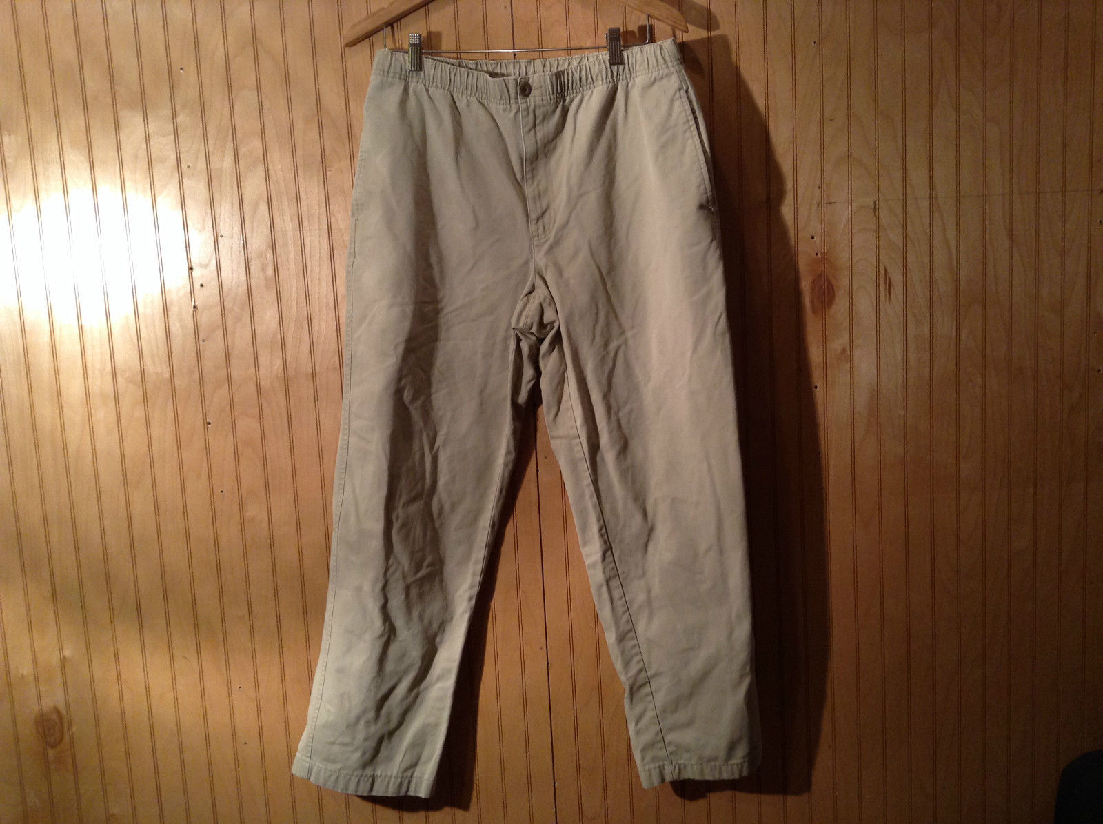 Lands End Khaki Drawstrings Pants Size 32 to 34 Medium Button Zipper Closure