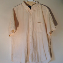 Lands End Button Down Light Yellow and White Striped Short Sleeve Shirt Size L