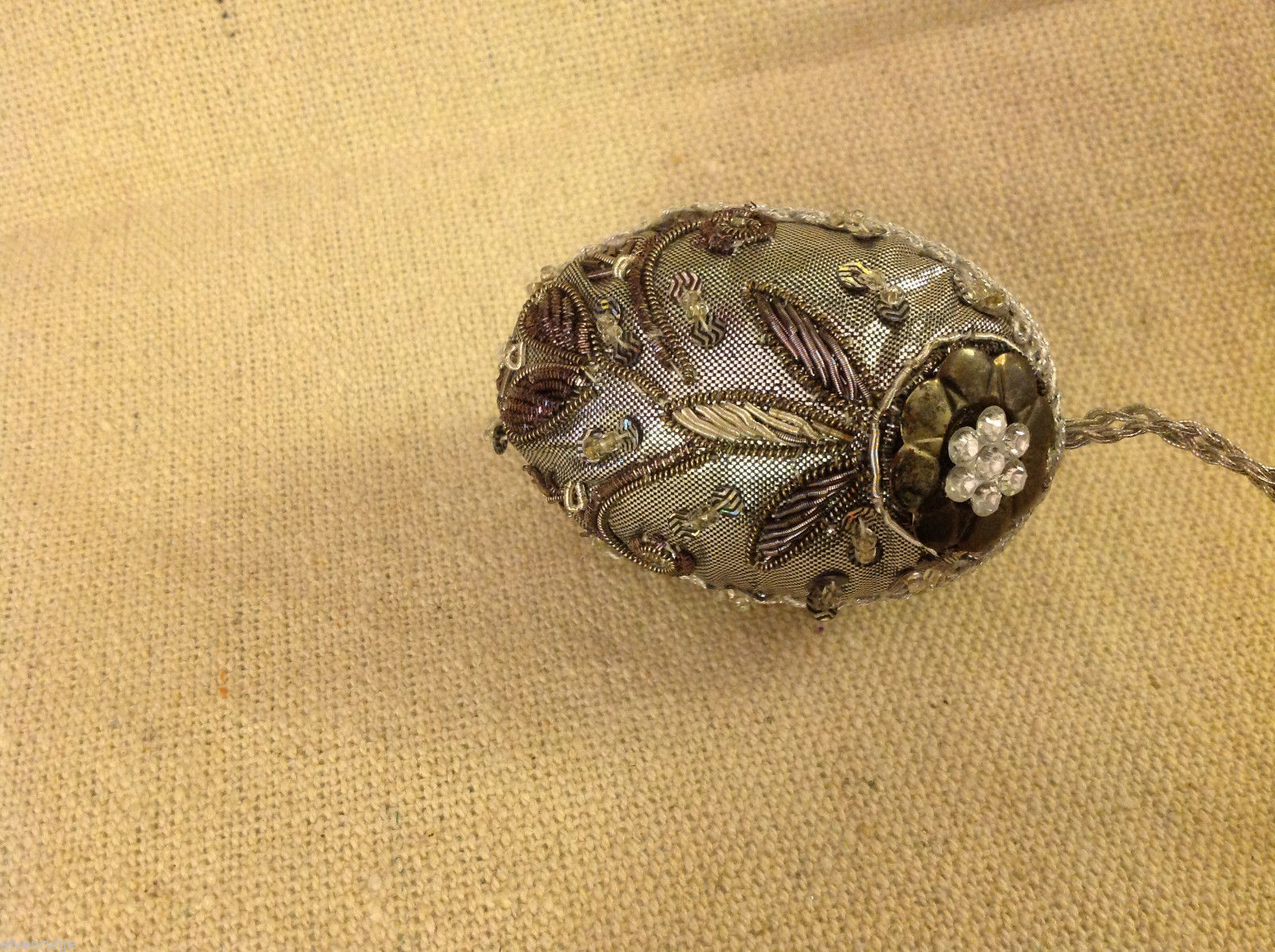 Hand beaded sequined adorned egg with raw silk in gray ornament #2