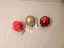 Hand Painted Holiday Christmas 2 Inside Painted Glass Ball Ornaments 3 pieces image 1