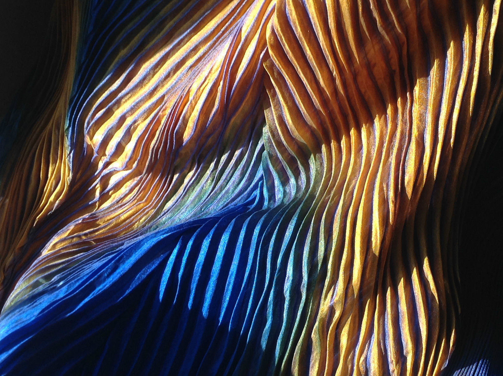 Hand Painted Pleated Tropical Fish Blue Yellow Green Long Silk Scarf